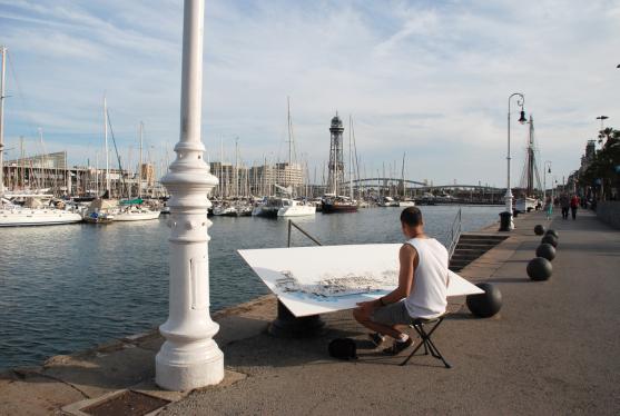 Xavi Julia dibujando en el Puerto de Barcelona